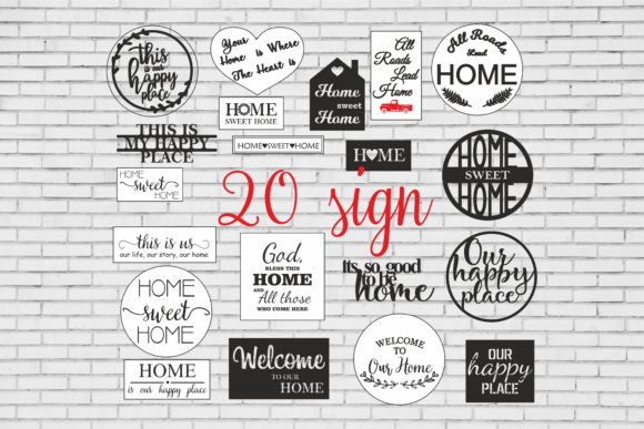 Download Free Sign Bundle Welcome Sign Home Sweet Home Graphic By Bn3300877 for Cricut Explore, Silhouette and other cutting machines.