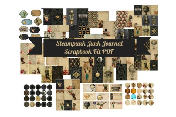 Download Free Steampunk Junk Journal Scrapbook Kit Graphic By Scrapbook Attic for Cricut Explore, Silhouette and other cutting machines.
