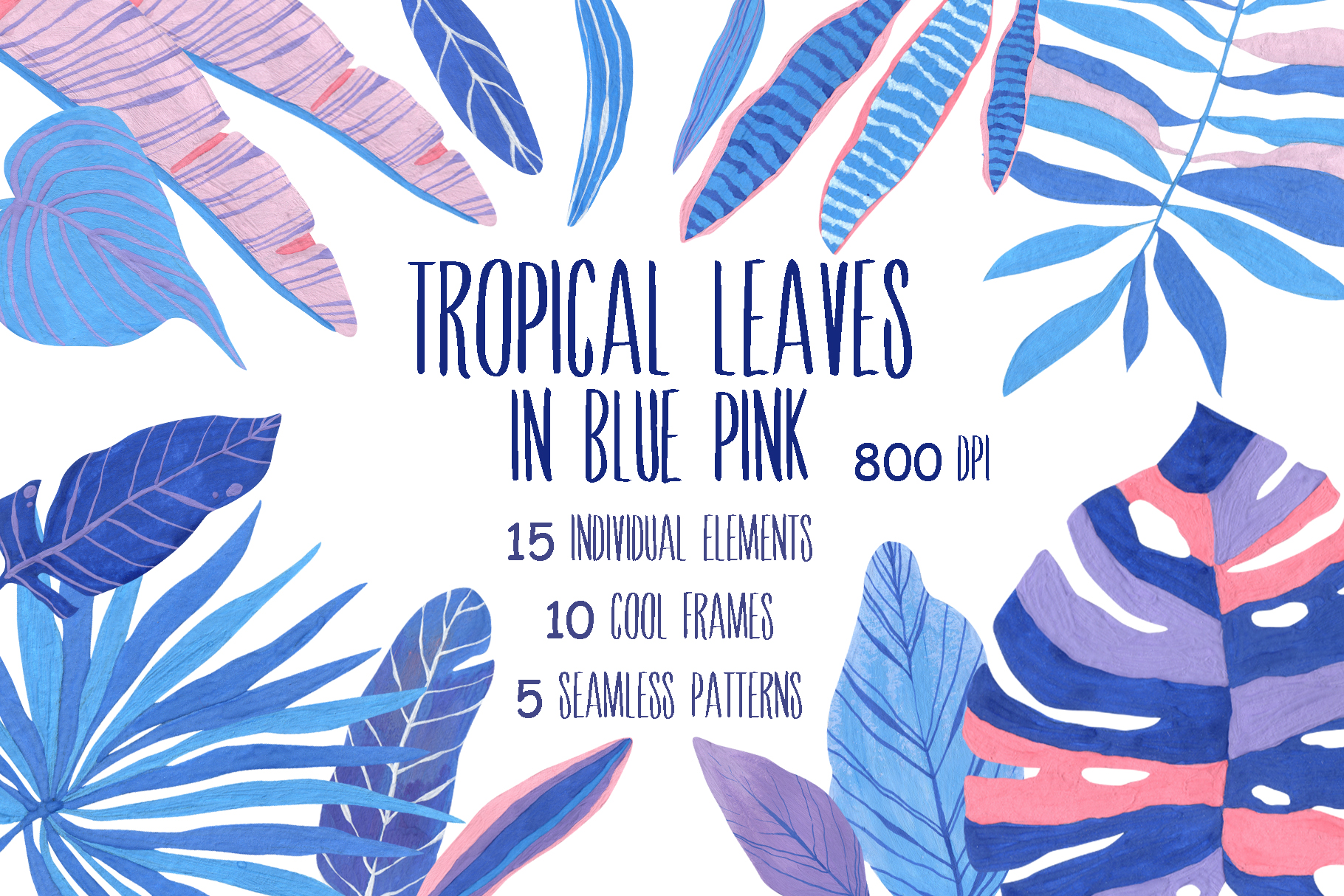 Download Free Tropical Leaves In Blue Pink Graphic By Vasharisovasha for Cricut Explore, Silhouette and other cutting machines.