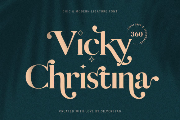 Download Free Vicky Christina Font By Silverstag Creative Fabrica for Cricut Explore, Silhouette and other cutting machines.