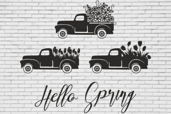 Download Free Vintage Truck Spring Truck Graphic By Bn3300877 Creative Fabrica for Cricut Explore, Silhouette and other cutting machines.