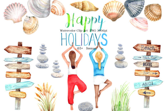 Watercolor Happy Holidays Clip Art Graphic Illustrations By evgenia_art_art