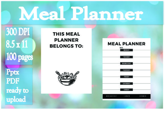 Print on Demand: Weekly Meal Planner Graphic KDP Interiors By Ivana Prue