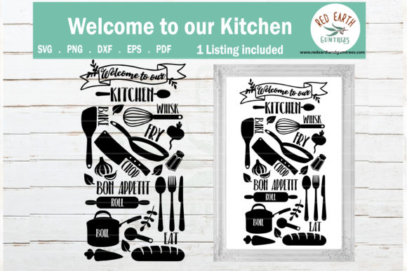 Welcome to Our Kitchen Farmhouse   Graphic Crafts By redearth and gumtrees