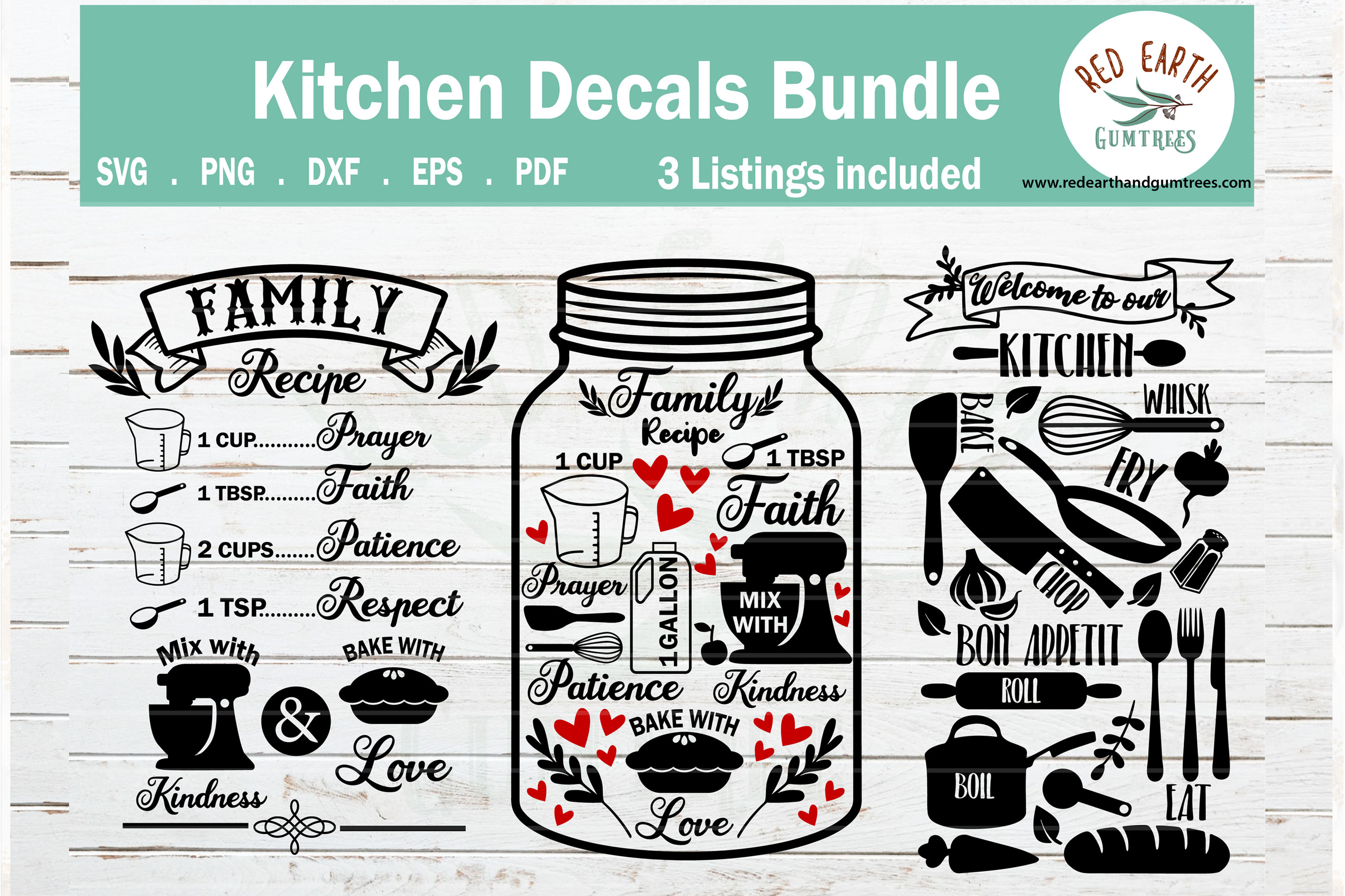 Download Free Welcome To Our Kitchen Family Recipe Graphic By Redearth And for Cricut Explore, Silhouette and other cutting machines.