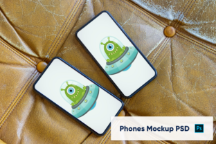 Iphones On Leather Background Mockup Graphic By Marian Kadlec
