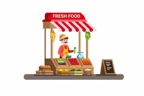 Download Free Man Selling Fresh Vegetable And Fruit Graphic By Aryo Hadi for Cricut Explore, Silhouette and other cutting machines.