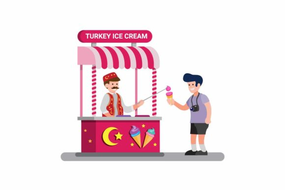 Download Free Man Selling Turkey Ice Cream Traditional Graphic By Aryo Hadi for Cricut Explore, Silhouette and other cutting machines.