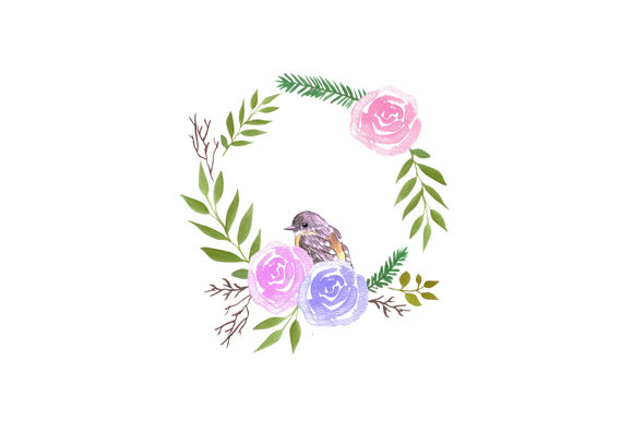 Download Free Robin In A Rose Flower Wreath Graphic By Shawlin Creative Fabrica for Cricut Explore, Silhouette and other cutting machines.