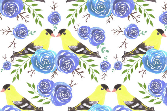 Download Free Seamless Flowers Yellow Birds Graphic By Shawlin Creative Fabrica for Cricut Explore, Silhouette and other cutting machines.