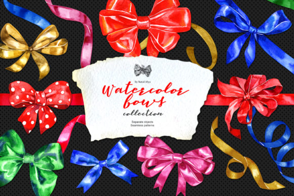 30 Watercolor Gift Bows and Ribbons Graphic Illustrations By NataliMyaStore