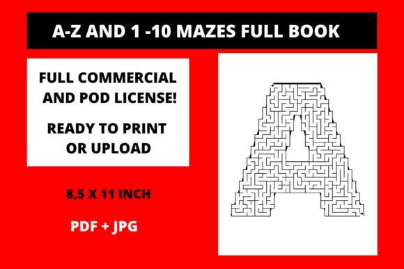 Print on Demand: A-Z and 1 -10 Mazes Full Book Graphic KDP Interiors By Fleur de Tango