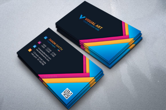 Download Free Abstract Colorful Business Card Template Graphic By Medelwardi for Cricut Explore, Silhouette and other cutting machines.