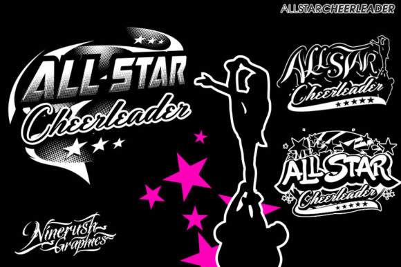Download Free All Star Cheerleader Badge Graphic By Ninerush Creative Fabrica for Cricut Explore, Silhouette and other cutting machines.