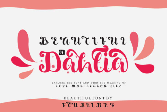 Download Free Beautiful Dahlia Font By Fourlines Studio Creative Fabrica for Cricut Explore, Silhouette and other cutting machines.