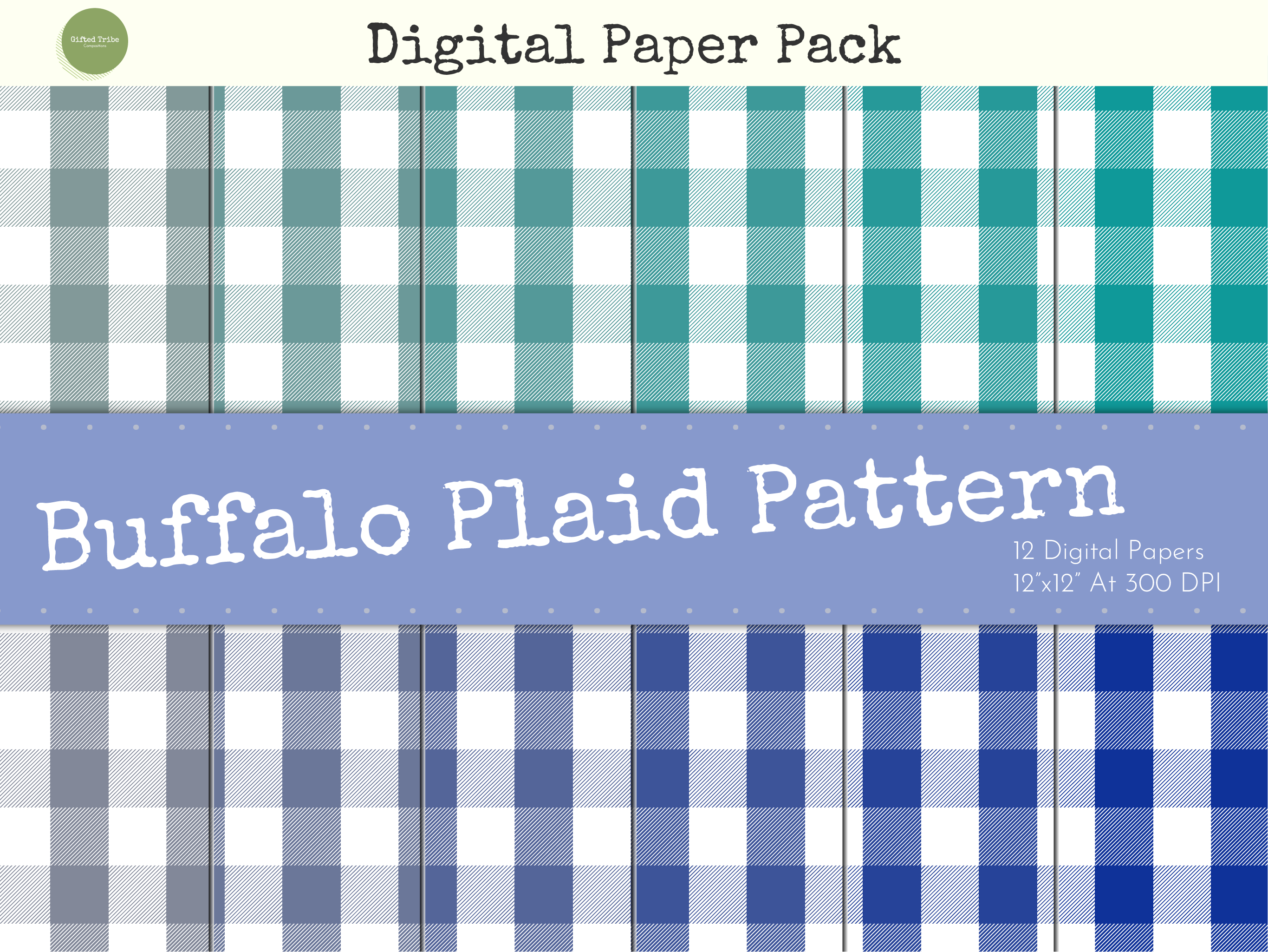Download Free Blue Buffalo Plaid Digital Papers Pack Graphic By Gifted Tribe for Cricut Explore, Silhouette and other cutting machines.