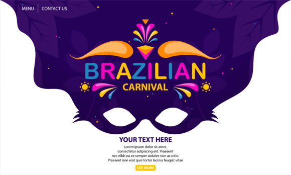 Print on Demand: Brazilian Carnival Graphic Landing Page Templates By be young