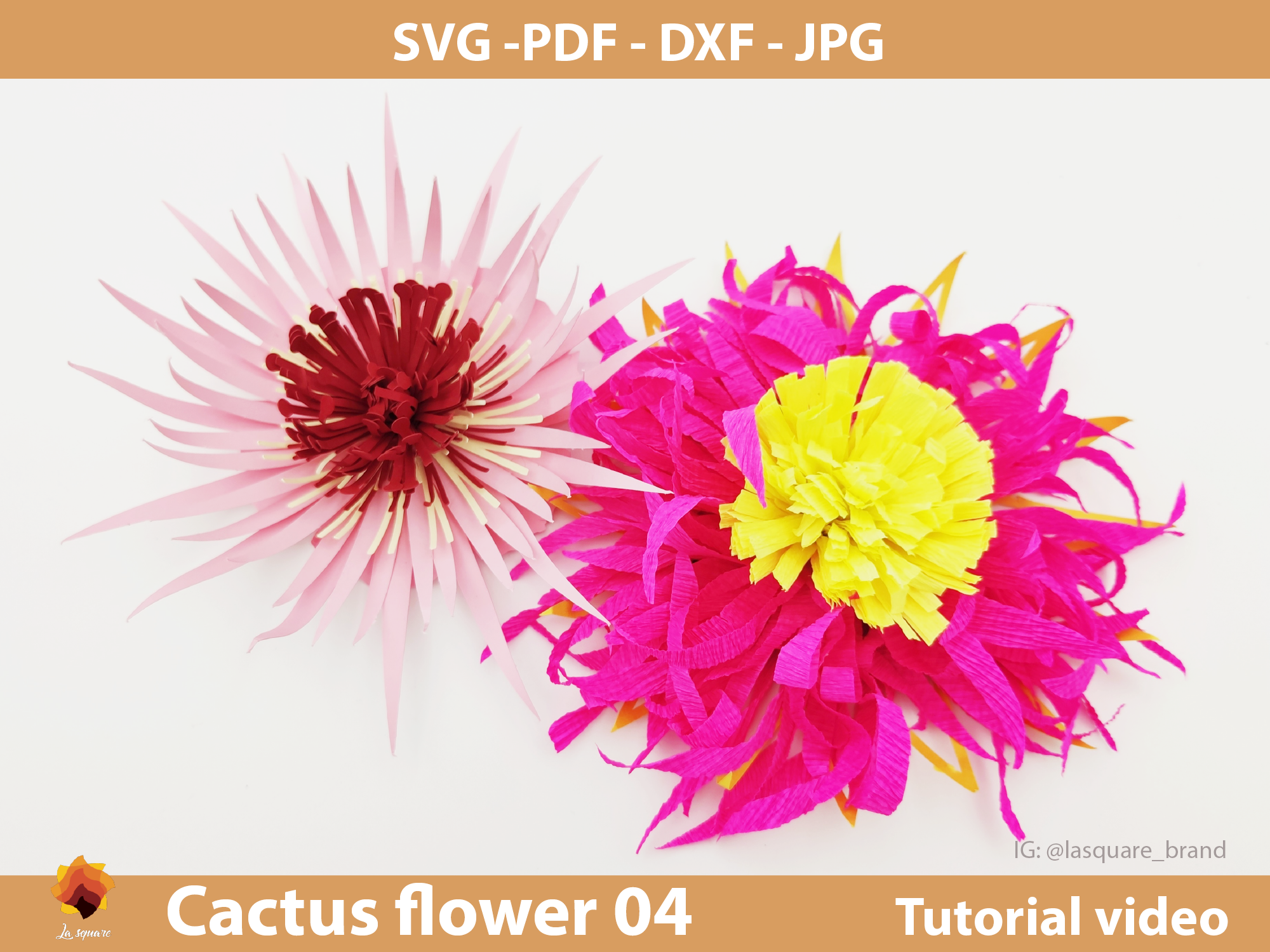 Download Free Ctf 04 Cactus Paper Flowers Template Graphic By Lasquare Info for Cricut Explore, Silhouette and other cutting machines.