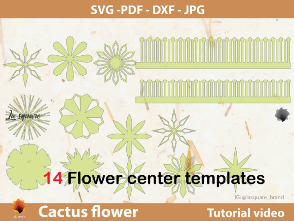 Download Free Ctf 04 Cactus Paper Flowers Template Graphic By Lasquare Info Creative Fabrica for Cricut Explore, Silhouette and other cutting machines.