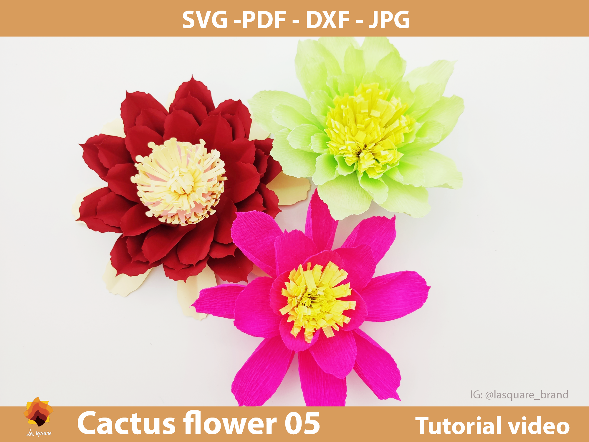 Download Free Ctf 05 Cactus Paper Flowers Template Graphic By Lasquare Info for Cricut Explore, Silhouette and other cutting machines.