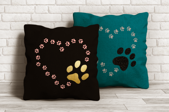 Download Free Cat And Dog Paw Print Heart Graphic By Designedbygeeks for Cricut Explore, Silhouette and other cutting machines.