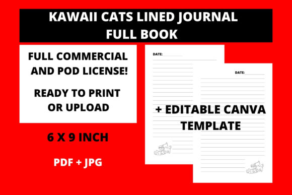 Print on Demand: Cats Lined Journal + Canva Template Graphic KDP Interiors By Fleur de Tango