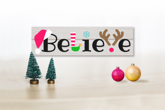 Christmas Believe Word Art Graphic Crafts By DesignedByGeeks