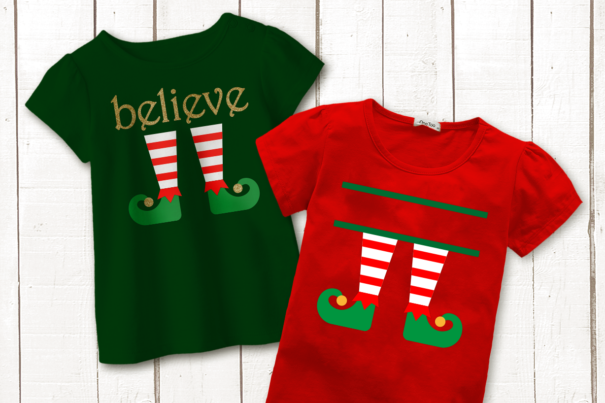 Download Free Christmas Elf Legs Split And Believe Duo Graphic By for Cricut Explore, Silhouette and other cutting machines.