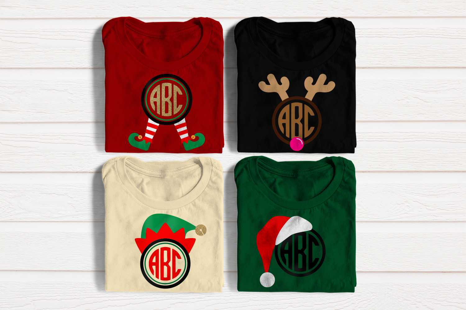 Download Free Christmas Round Monogram Frame Set Graphic By Designedbygeeks for Cricut Explore, Silhouette and other cutting machines.