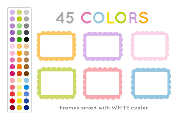 Download Free Colorful Scalloped Frame Clip Art Graphic By Titatips Creative for Cricut Explore, Silhouette and other cutting machines.