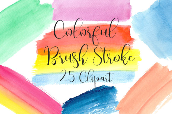 Colorful Watercolor Brush Stroke Clipart Graphic Backgrounds By PinkPearly