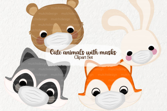 Print on Demand: Cute Animals with Masks Graphic Illustrations By Mutchi Design