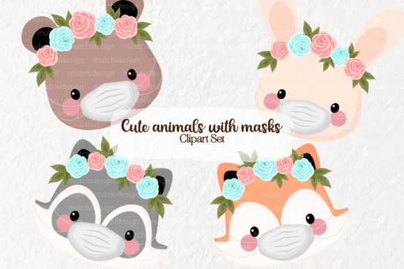 Download Free Cute Animals With Masks Graphic By Mutchi Design Creative Fabrica SVG Cut Files