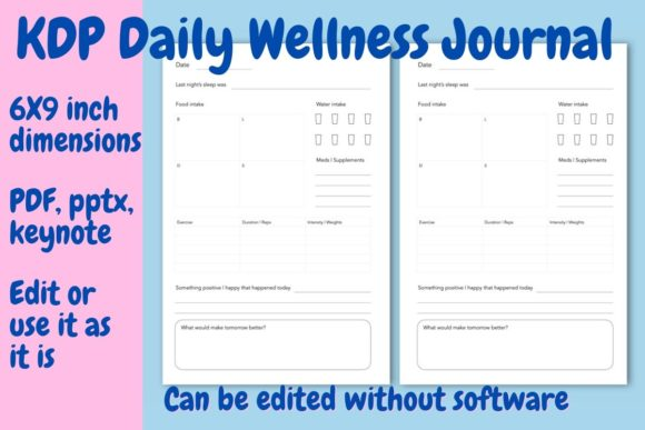 Download Free Daily Wellness Journal Grafico Por Income Plum Creative Fabrica for Cricut Explore, Silhouette and other cutting machines.