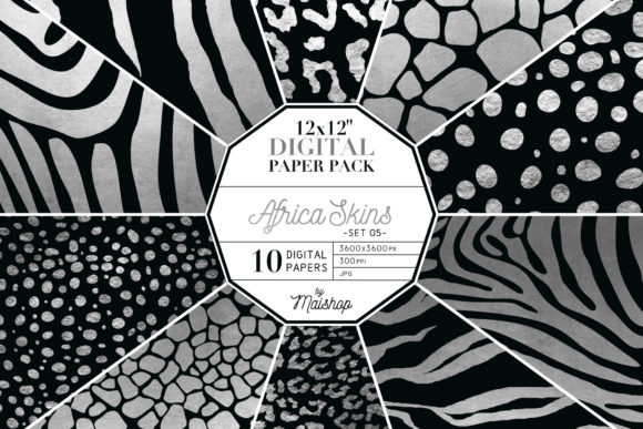 Print on Demand: Digital Paper Africa Skins Set 05 Graphic Patterns By Maishop