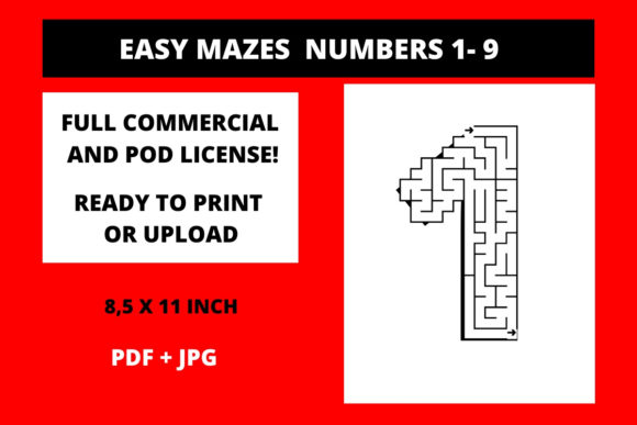 Easy Mazes Numbers 1-9 Graphic