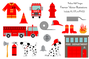 Download Free Fire Department Vector Clipart Illustrat Graphic By Melissa Held for Cricut Explore, Silhouette and other cutting machines.