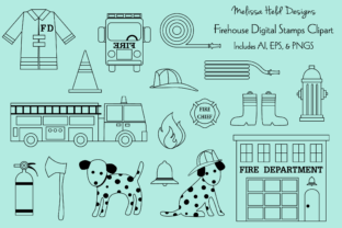 Firehouse Digital Stamps Clipart Graphic Illustrations By Melissa Held Designs