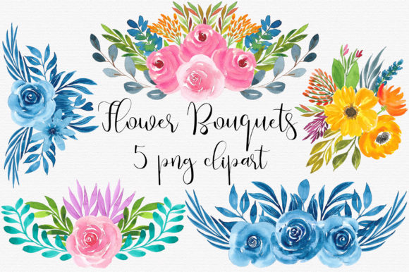 Flower Watercolor Bouquets Clip Art Graphic Illustrations By PinkPearly