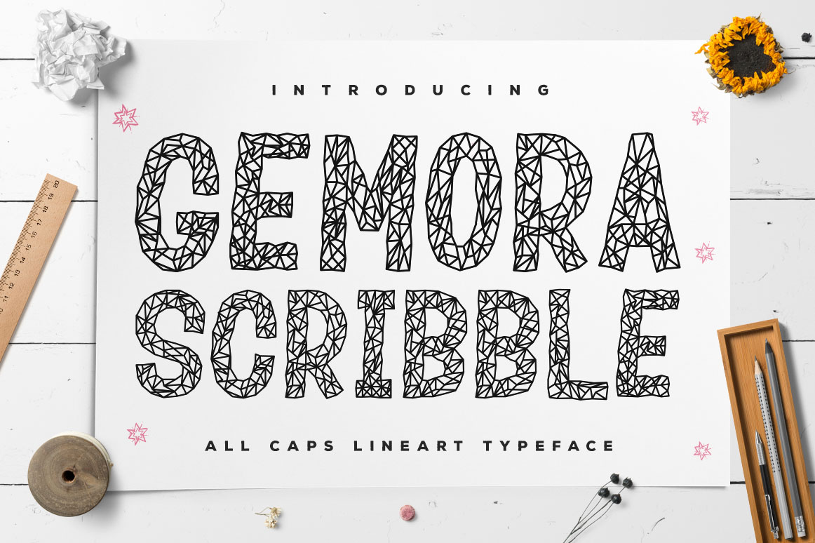 Download Free Gemora Scribble Font By Kotak Kuning Studio Creative Fabrica for Cricut Explore, Silhouette and other cutting machines.
