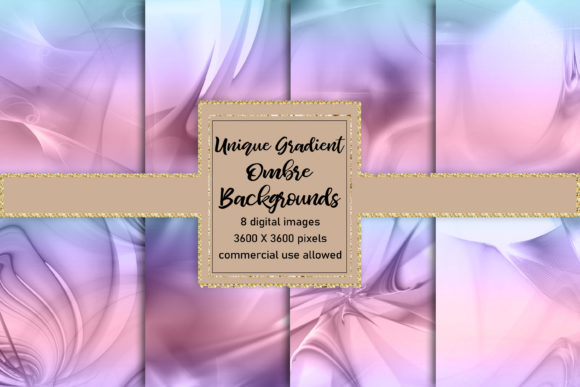 Print on Demand: Gorgeous Glassy Ombre Gradient Textures Graphic Backgrounds By AM Digital Designs