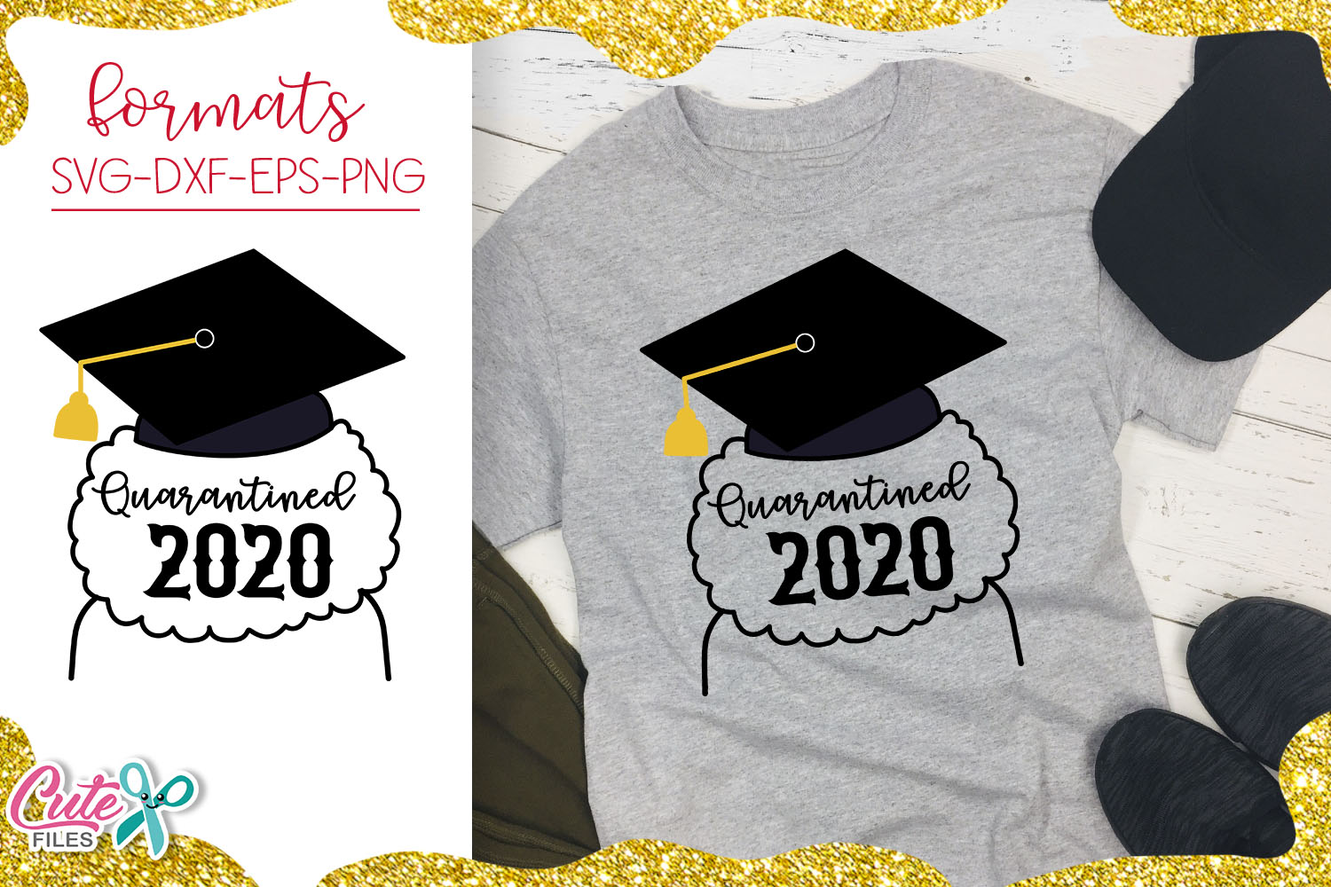 Download Free Graduate Afro Girl Quarantined Graphic By Cute Files Creative for Cricut Explore, Silhouette and other cutting machines.