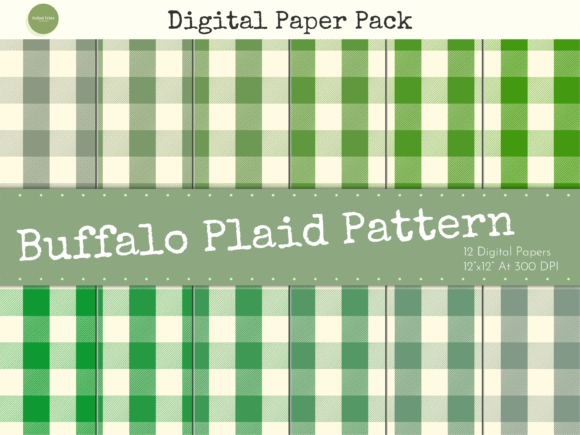 Download Free Green Buffalo Plaid Digital Papers Pack Graphic By Gifted Tribe for Cricut Explore, Silhouette and other cutting machines.