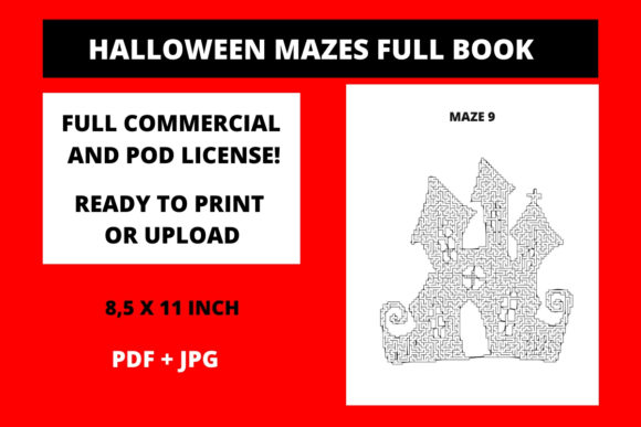 Print on Demand: Halloween Mazes Full Book Graphic KDP Interiors By Fleur de Tango