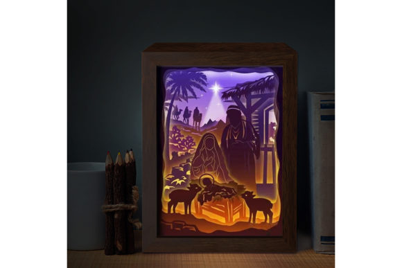 Print on Demand: Jesus 3D Paper Cutting Light Box Graphic 3D Shadow Box By LightBoxGoodMan