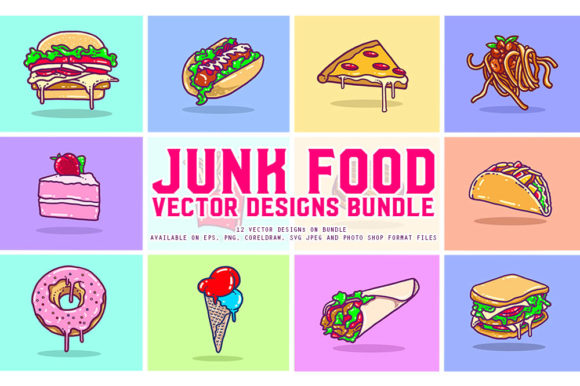 Download Free Junk Food Vector Designs Bundle Graphic By Fluffyartstudio for Cricut Explore, Silhouette and other cutting machines.