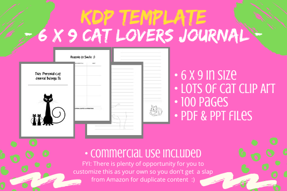 Download Free Kdp Interior 6 X 9 Cat Lovers Journal Graphic By Tomboy for Cricut Explore, Silhouette and other cutting machines.
