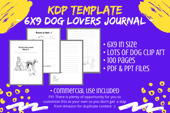 Download Free Kdp Interior 6 X 9 Dog Lovers Journal Graphic By Tomboy for Cricut Explore, Silhouette and other cutting machines.