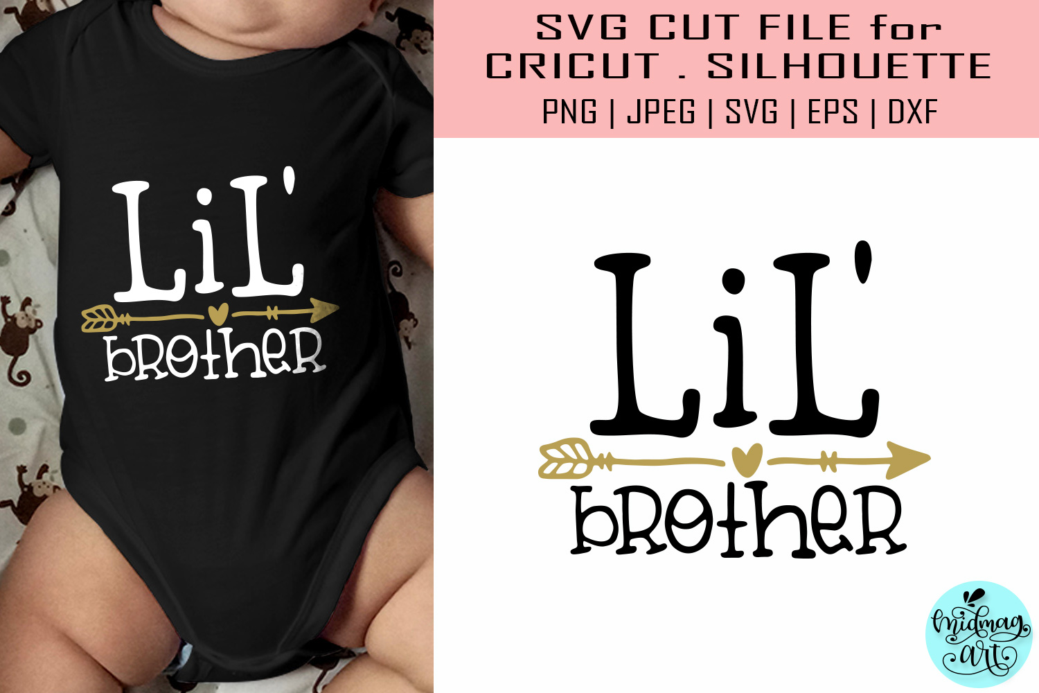Download Free Lil Brother Baby Brother Shirt Graphic By Midmagart Creative for Cricut Explore, Silhouette and other cutting machines.