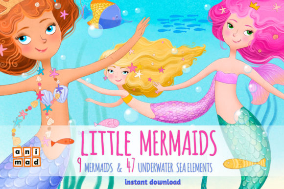 Little Mermaids Graphic Illustrations By AnimadDesign
